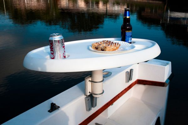portable table with a V-Lock mount | V-Lock Marine | Pontoon boat accessories, Boat plans, Boat