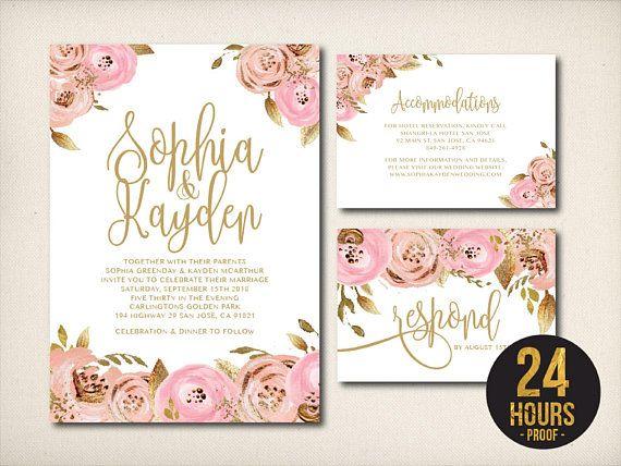 Wedding Invitation Blush Gold Fl Pale Pink