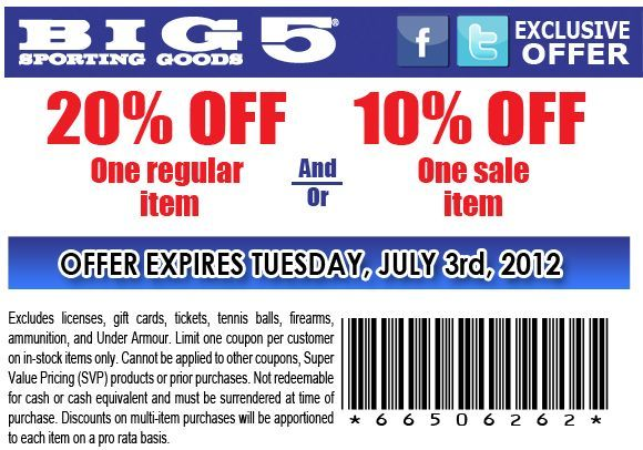 photograph about Big 5 Coupon Printable identified as 10%/20% off just one sale/every month products at Large 5 Donning Merchandise