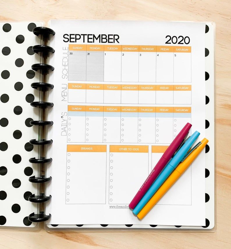 Printable Calendar 2020 Weekly Planner + Monthly Calendar