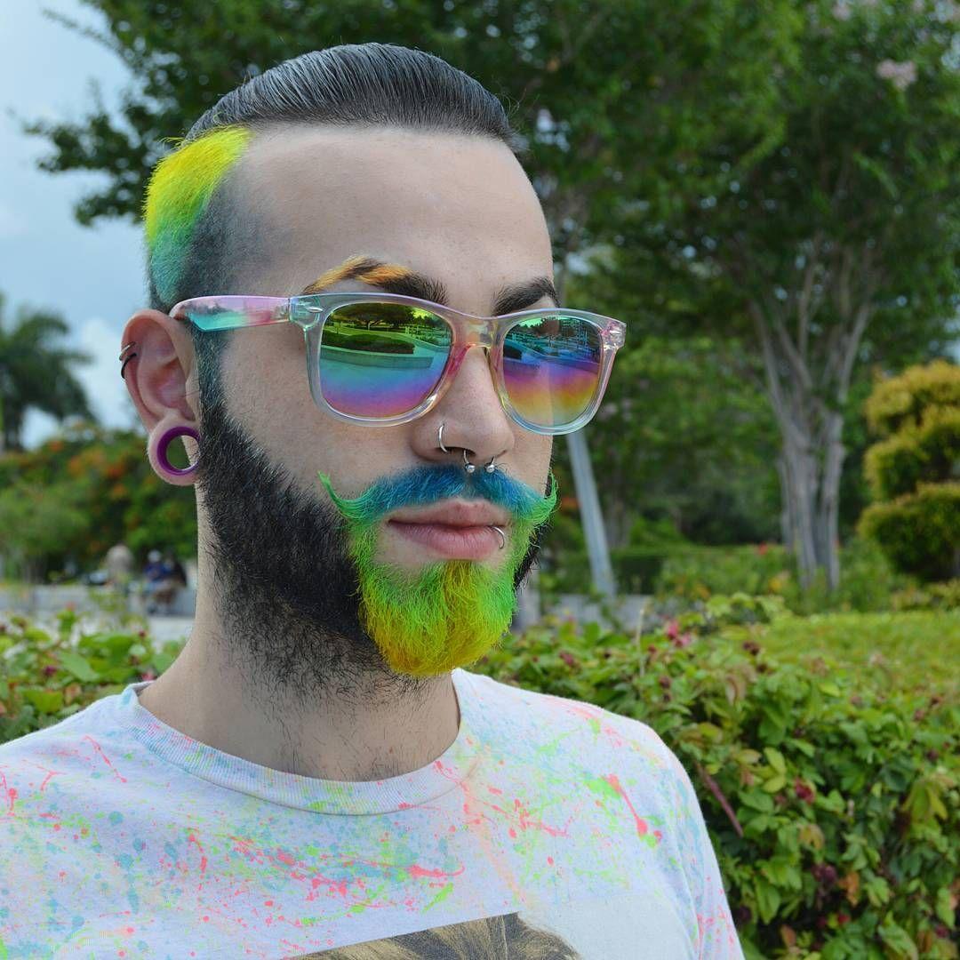 Omg Tiger Stripe Eyebrow Neon Beard Dye Fantastic Undercut What S Not To Like Here Beard Dye Beard Styles Dyed Hair