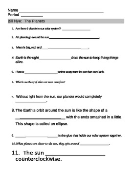 bill nye planet video worksheet bill nye nye and solar system. Black Bedroom Furniture Sets. Home Design Ideas