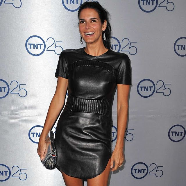 Angie Harmon looks simply WOW in a black leather dress