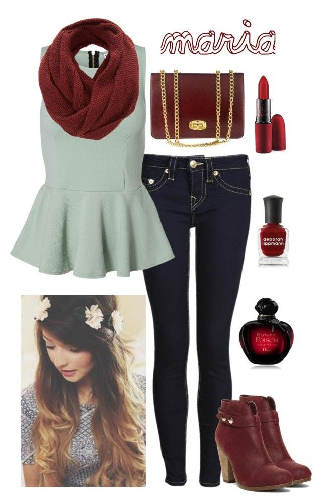 """Cherry Red w/ Zoella"" by mariaavagyan ❤ liked on Polyvore featuring True Religion, Vero Moda, SELECTED, Marlafiji, Steve Madden, Christian Dior, Deborah Lippmann, MAC Cosmetics, women's clothing and women"