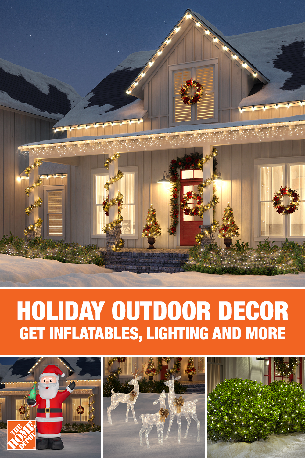 Shop Festive Outdoor Decor At The Home Depot Deck Your Yard With Holiday Cheer And Outdoor Outdoor Holiday Decor Exterior Christmas Lights Outdoor Christmas