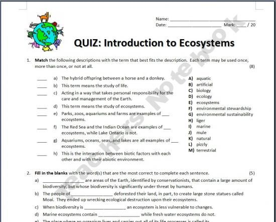 introduction to ecosystems quiz ecosystems pinterest school social studies and life science. Black Bedroom Furniture Sets. Home Design Ideas