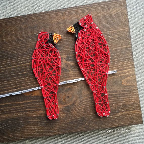 made to order string art two cardinals on a wire sign dr. Black Bedroom Furniture Sets. Home Design Ideas