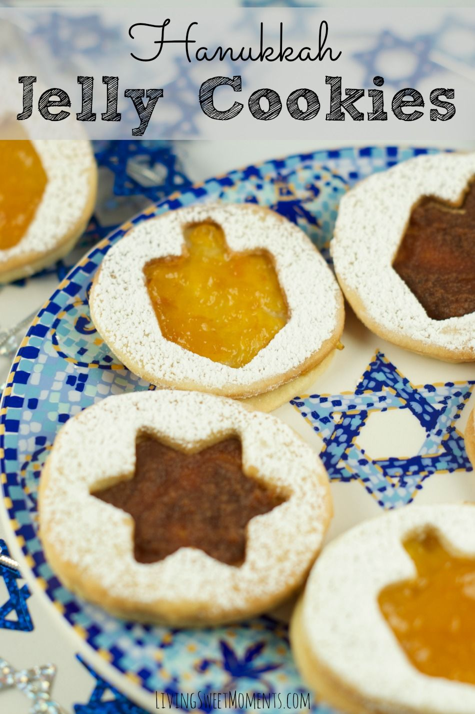Hanukkah Jelly Cookie Recipe - Super delicious and festive Hanukkah Cookies filled with jelly, jam or whatever you may like! These are a must for the first night of Hanukkah!