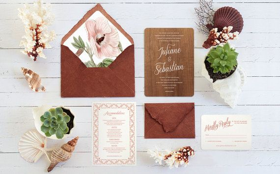 Real Wood Wedding Invitations: Real Wood Wedding Invitations With Handmade Vegetable Dyed