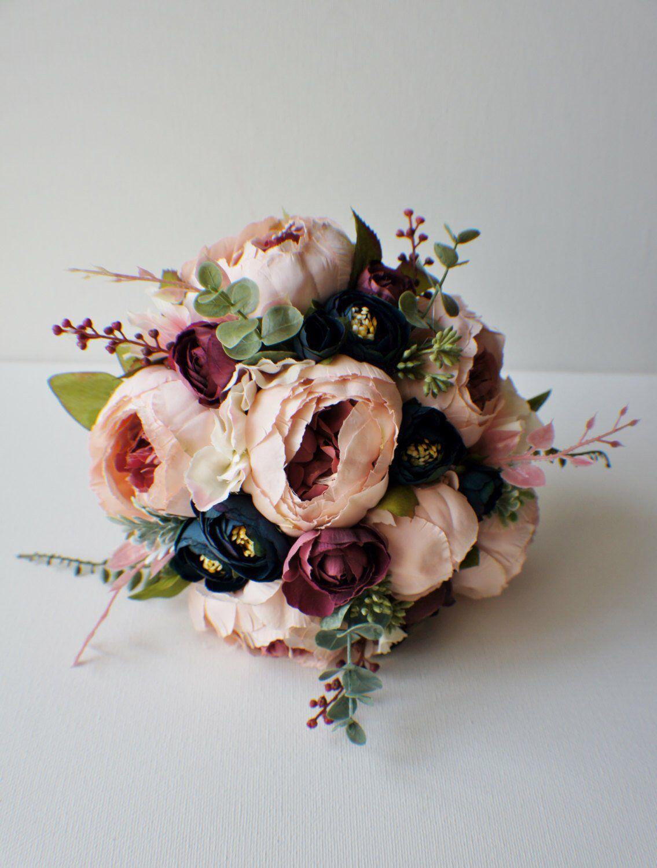 Peony Bridal Bouquet Silk Wedding Flowers Blush Vintage Rustic