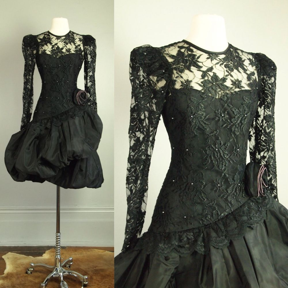 Vtg s goth lace beaded bubble prom dress xs cocktail avant garde