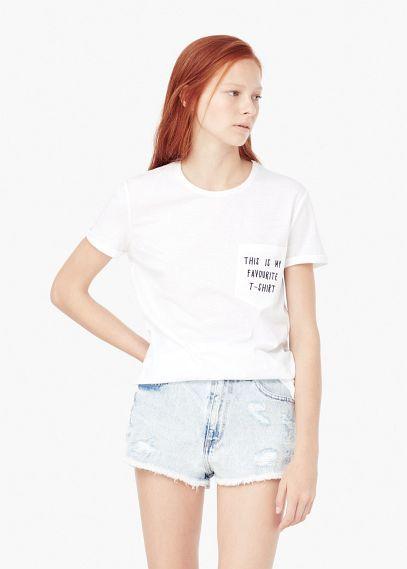 T-shirt algodão bolso | MANGO