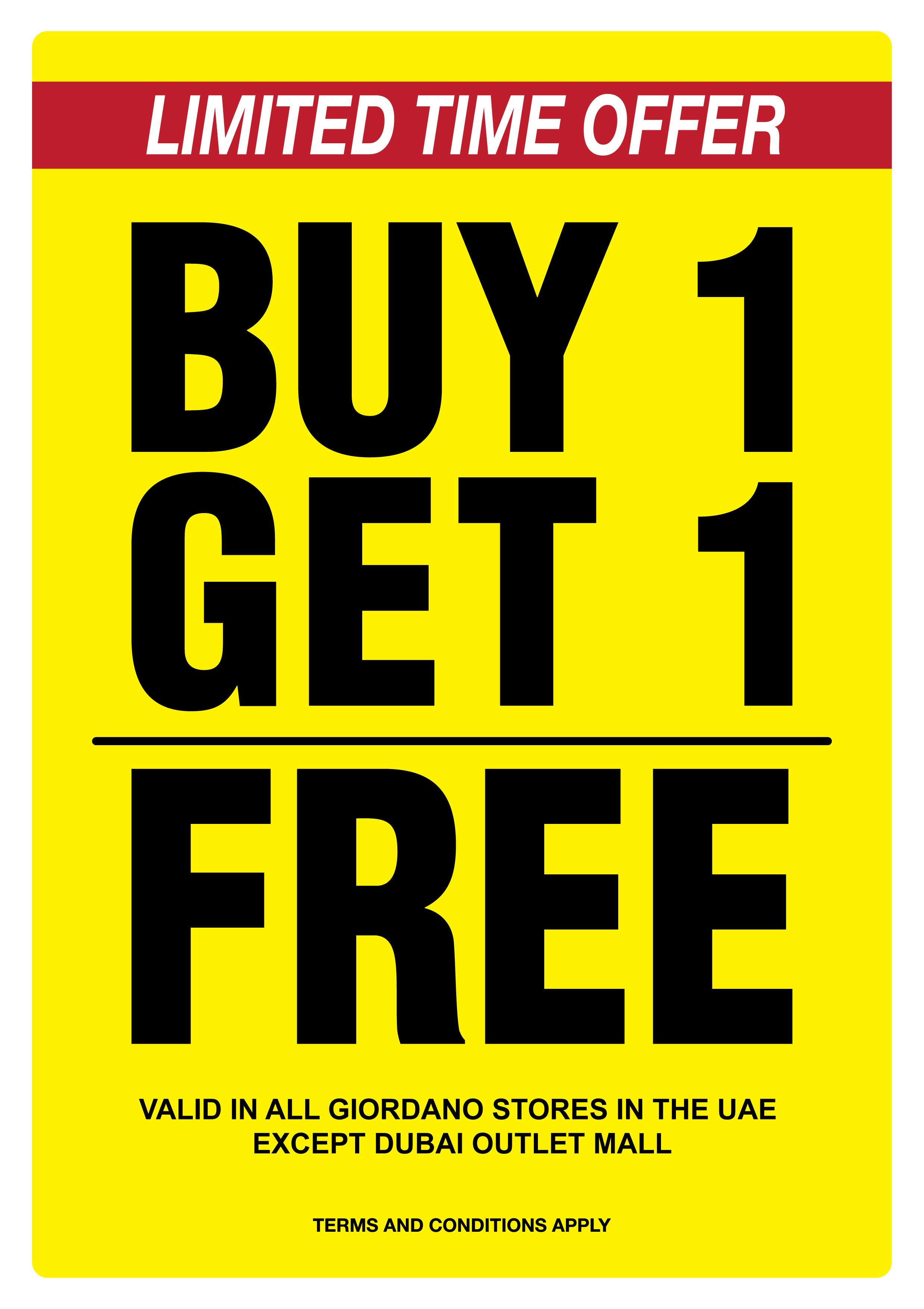 Team Giordano Hurry Come Avail Our Limited Time Buy 1 Get 1 Free Offer Only Valid In Uae Come Shop Now At Giordano Val Sale Design Outlet Mall How To Apply