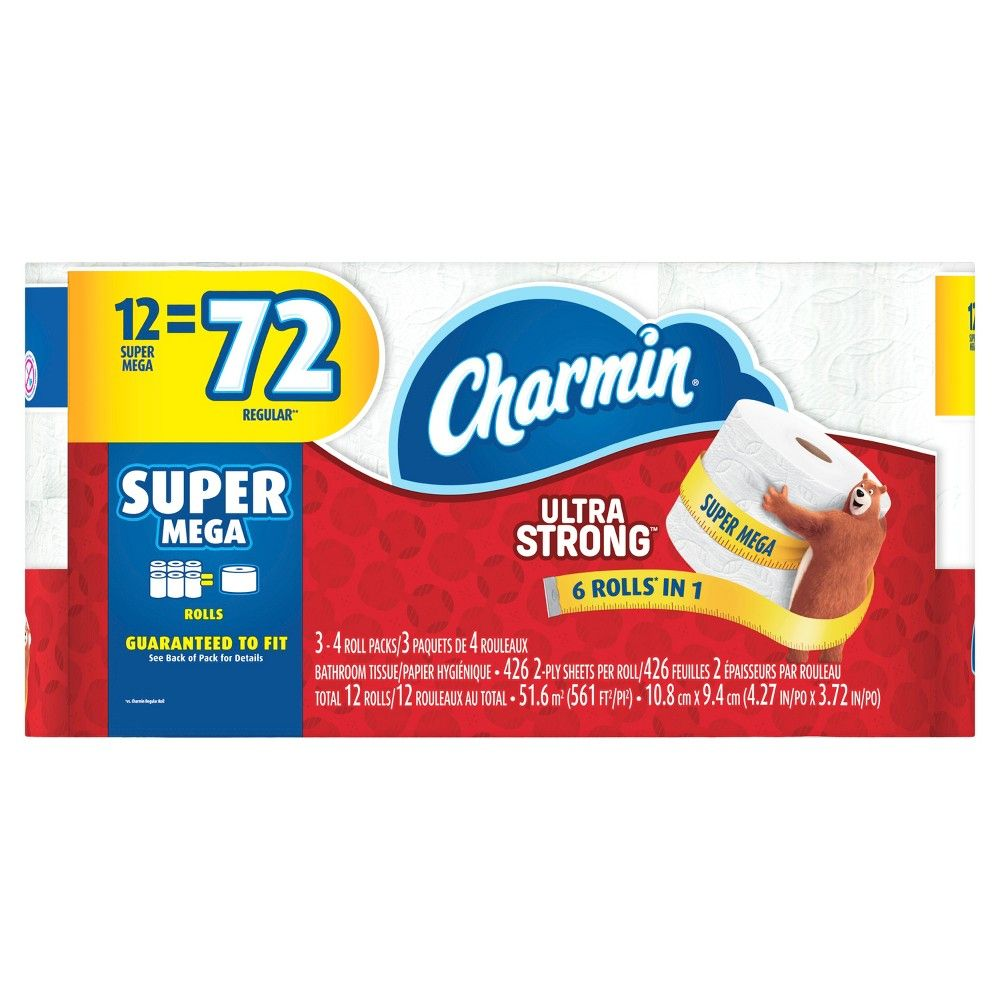 Charmin Ultra Strong Toilet Paper 12 Super Mega Rolls With Images Toilet Paper Bath Tissue Paper