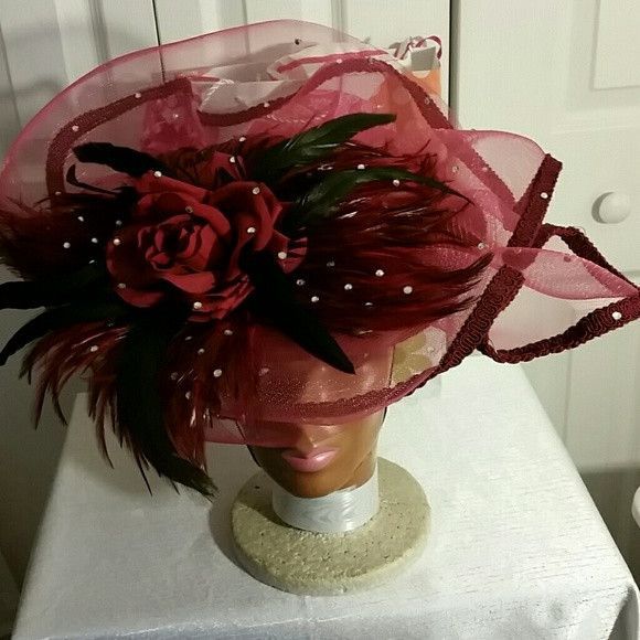 Gorgeous Kentucky Derby Hat, Church Hat, Dress Hat Custom Made Burgundy Dress Hat w/Black Feathers.
