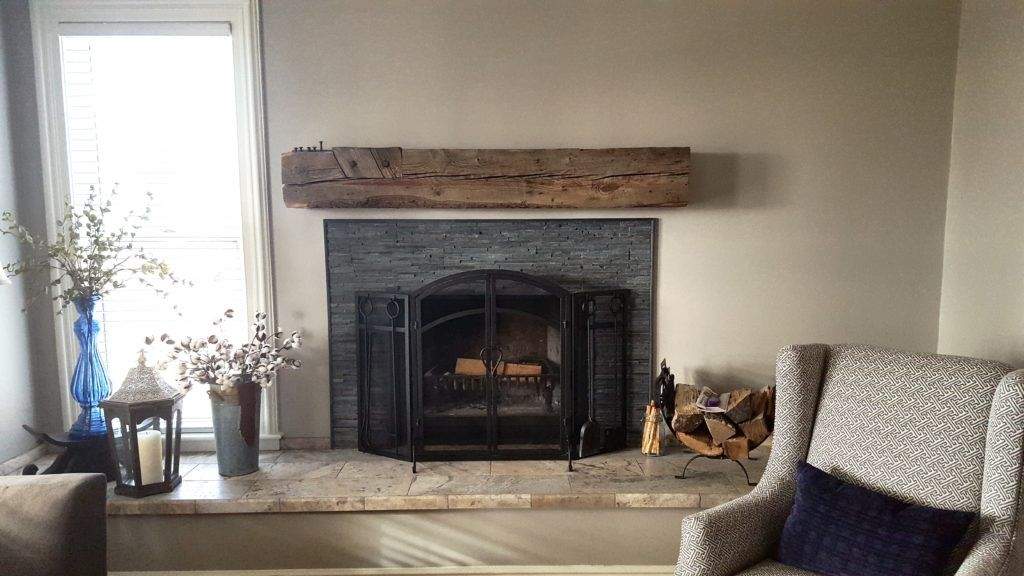 Reclaimed Wood Fireplace Mantel Above In Living