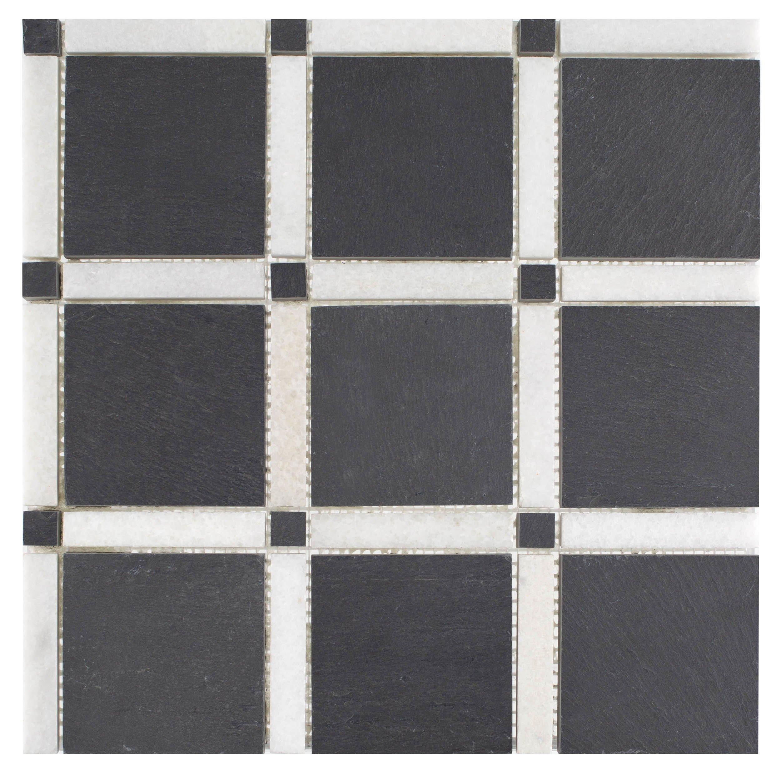 Black And White Forum Honed Slate Mosaic Marble Mosaic Black White Mosaic