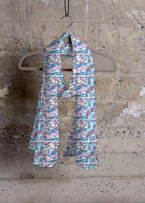 Cashmere Silk Scarf - Azure Toffee KaleidoPaint by VIDA VIDA gBqso