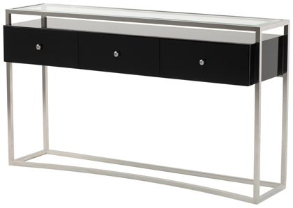 Striata Console Table With Drawers Polished Stainless Steel With Gloss Black Lacquer Three Drawer Unit A Steel Console Table Console Table Glass Console Table