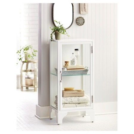 White Bathroom Linen Tower linen tower apothecary white - threshold : target | for the home