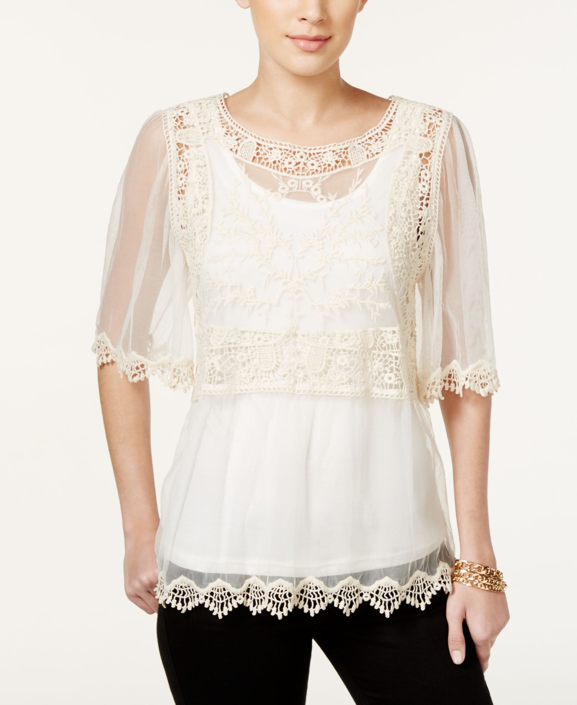 Style & Co. Petite Lace Flutter-Sleeve Blouse, Only at Macy's
