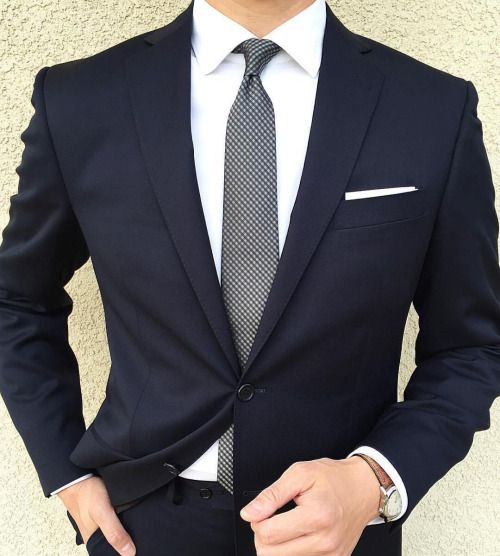Mens 3 Piece Tailored Fit Classic Retro Navy Suit Best Man Office Smart Formal