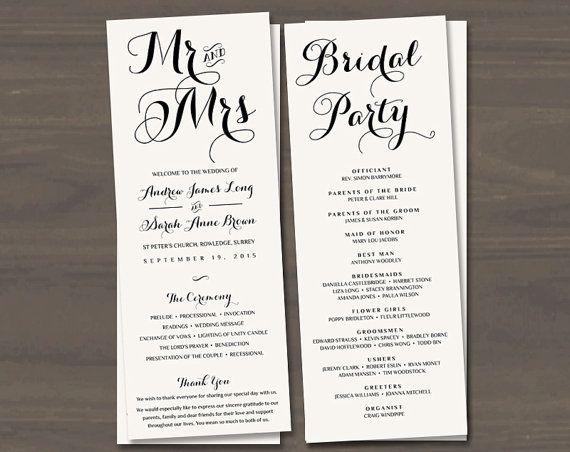 long wedding programs mr and mrs programs wedding order of service