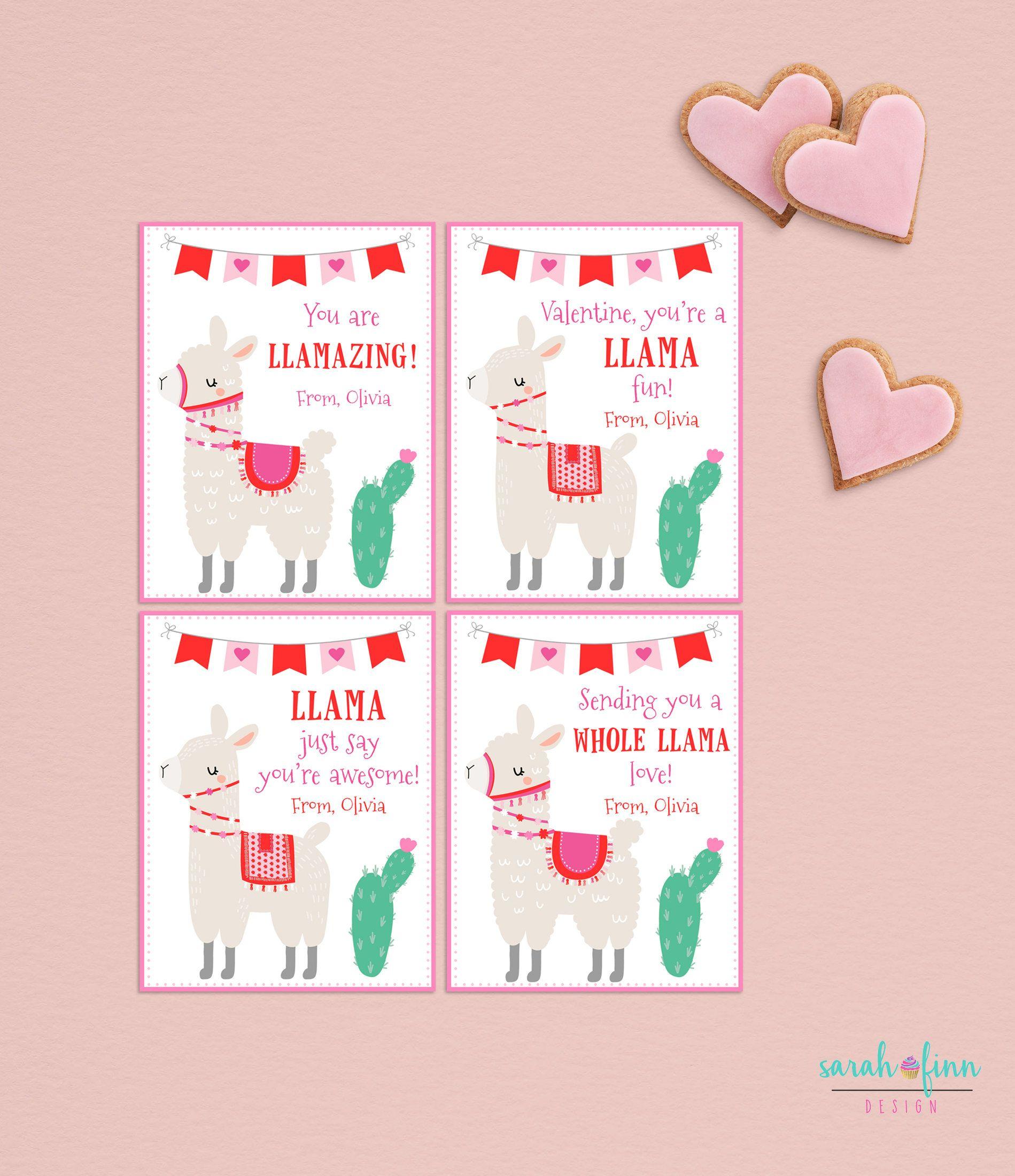 Llama Kids Valentines Day Cards School Alpaca Cactus Etsy Valentines For Kids Printable Valentines Cards Valentines Cards