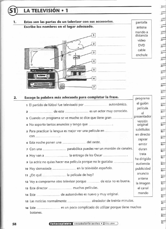 Spanish worksheets  ISSUU - Vocabulario activo 2. Fichas con ejercicios  fotocopiables (Intermedio