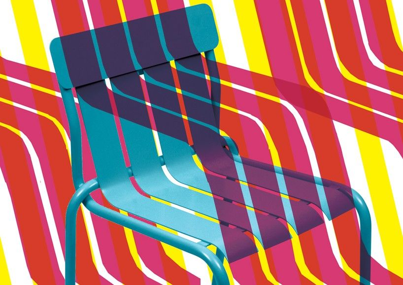matali crasset's brightly colored stripe chair for fermob contains a playful curved form  www.designboom.com