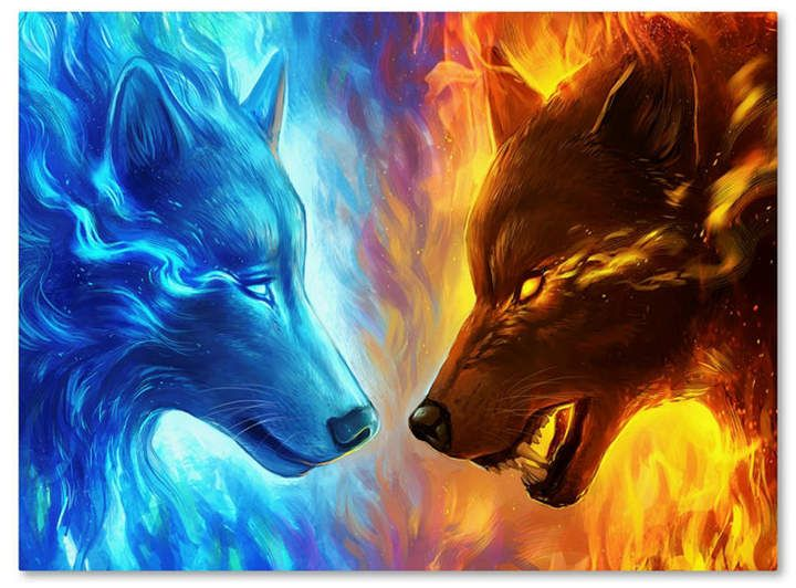 Wallpaper Elemental Wolf Fire And Ice Wolf