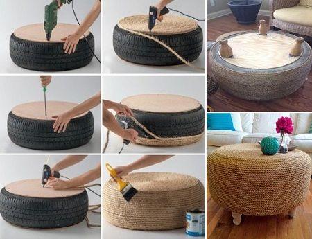 Muebles hechos de llantas decoradas bricolage y for Manualidades de muebles