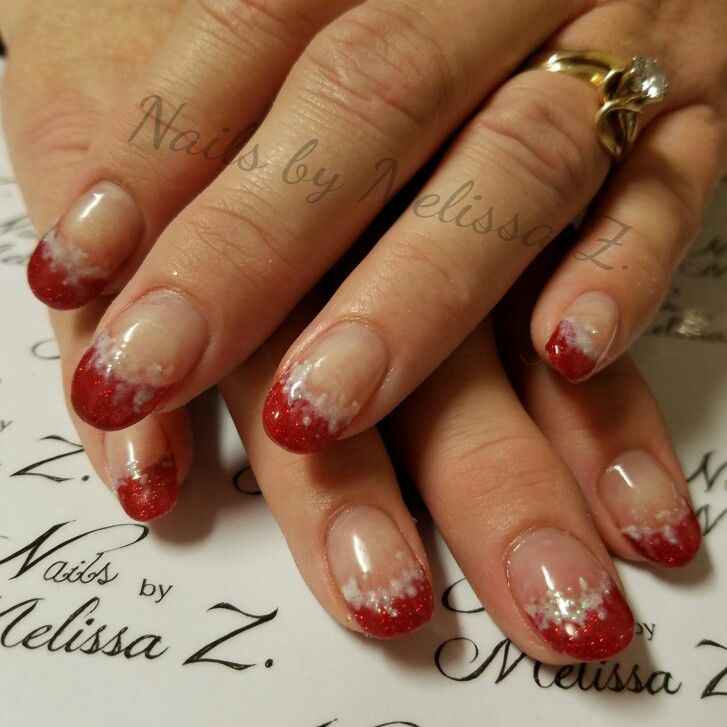 acrylic with fancy French snowy glitter Nails by Melissa Z | Nails ...
