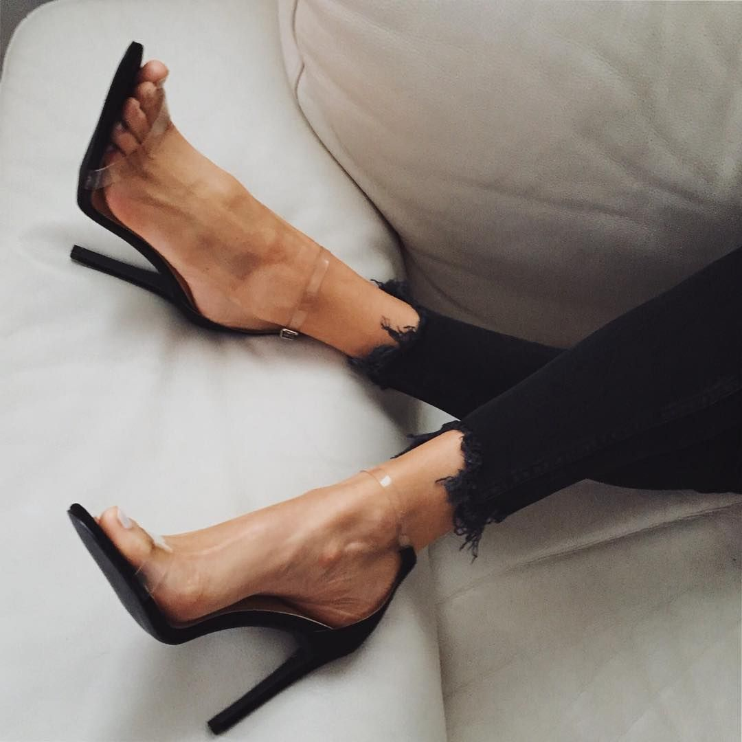 72642f366b20 Black Clear Stiletto Heel Ankle Strap Sandals image 1 Clear Strap Heels