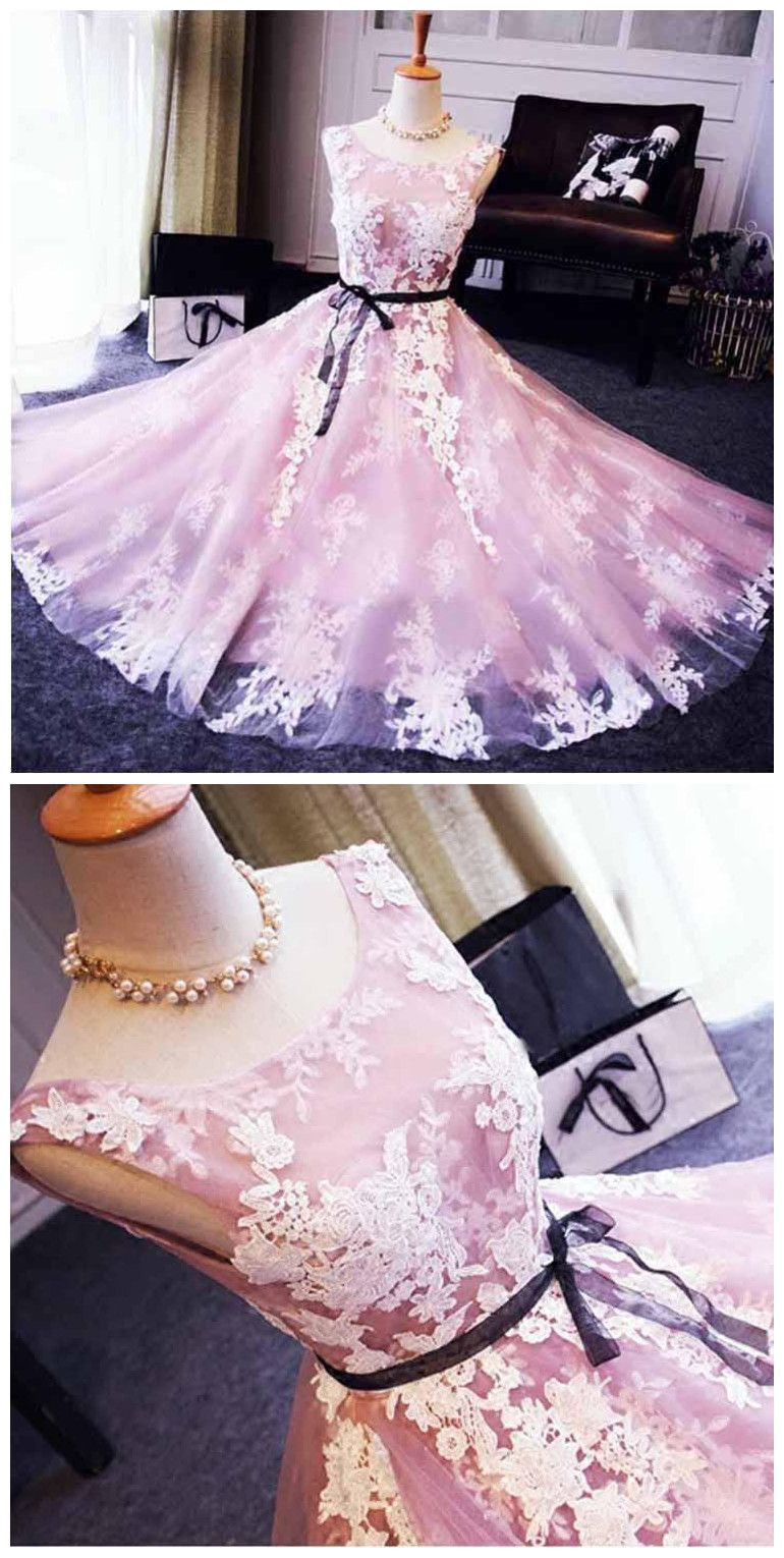 A-line Scoop Tulle Short Prom Dress Juniors Homecoming Dresses ...