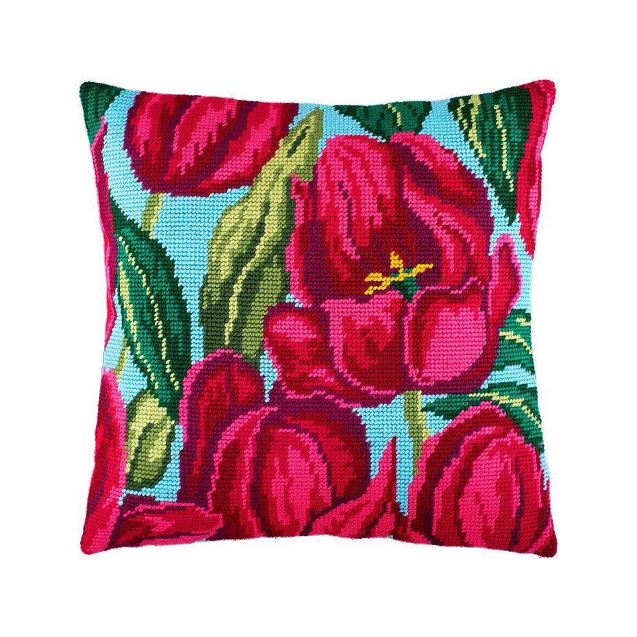 Embroidery Pillow kit 40x40 cm size 16x16 Printed Canvas Cross Stitch Cushion Kit DIY Needlepoint Pillow Kit Pink Rose
