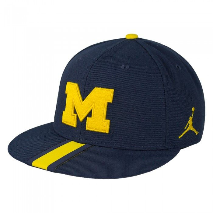 huge discount e7242 28ac5 University of Michigan 2017 Jumpman Sideline Flat Bill Snapback Hat At Campus  Den