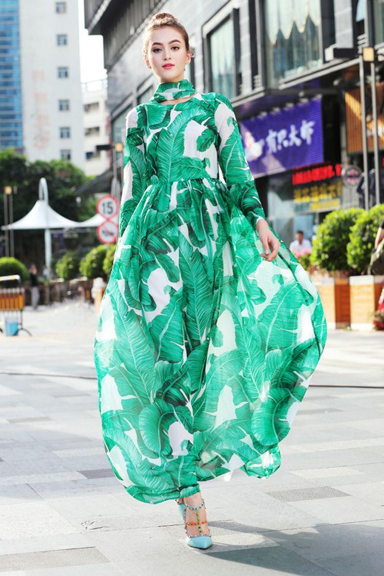 3fc6df7bf51 2017 Autumn Runway Designer Long Dresses Women s High Quality Long Sleeve  Green Banana Leaf Printed Long Dress + Scraft