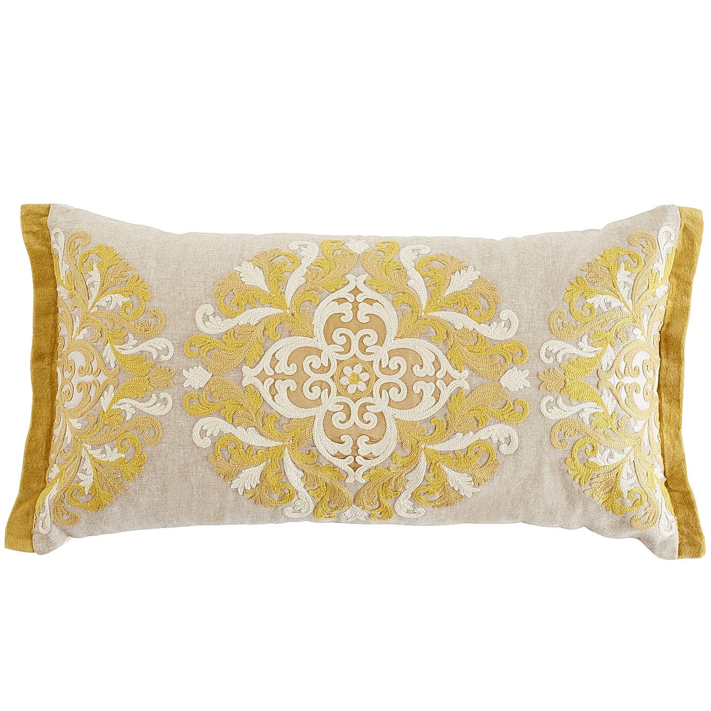 Floral Medley Embroidered Medallion Lumbar Pillow Pillows Accent Throw Pillows Yellow Accent Pillow