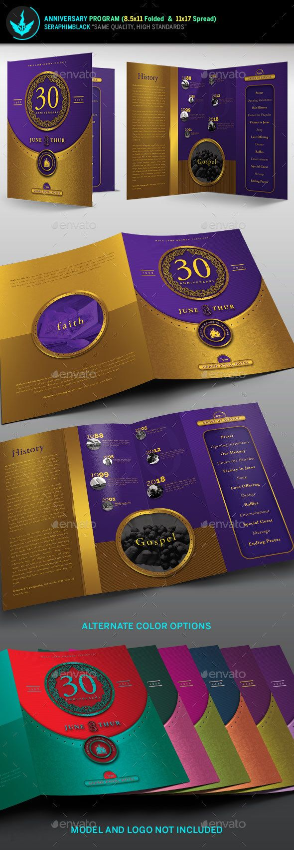 gold and violet church anniversary program template informational