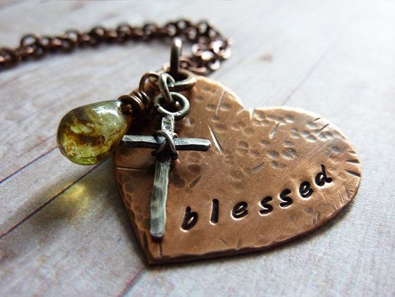 Inspirational Heart Necklace Stamped Blessed with Sterling