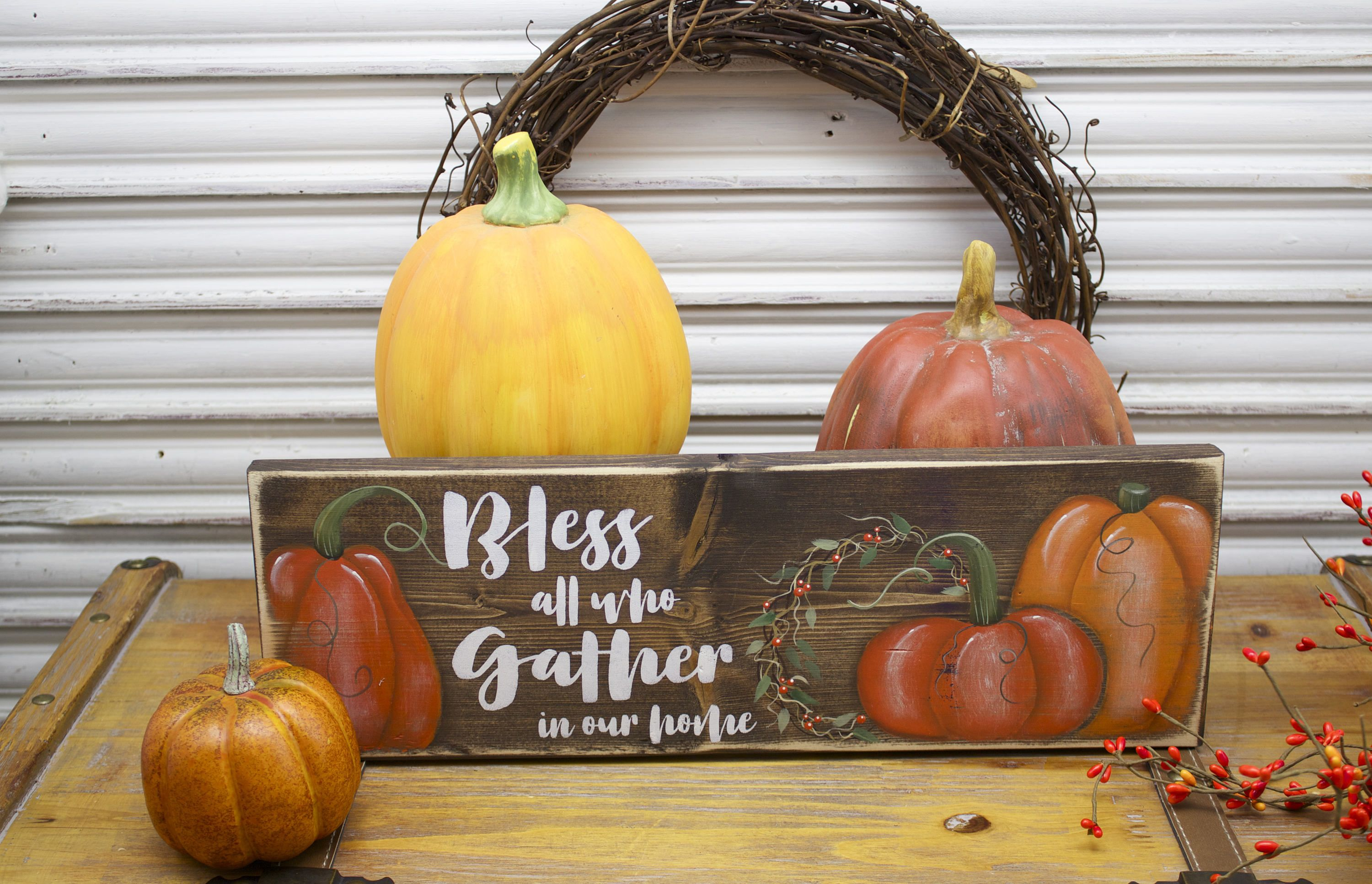 Blessed Wood Sign Gather Sign Rustic Fall Decor Pumpkin Patch Fall Wreath Pumpkins Rustic Fall Autumn Decor Bles Rustic Fall Decor Wood Signs Fall Decor