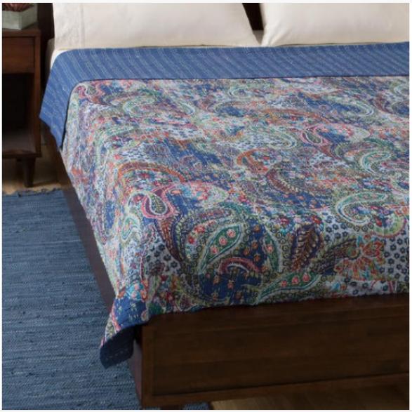 Vintage Indian Cotton Pasiley Print Kantha Quilts Ethnic Bedspread Bidding Decor