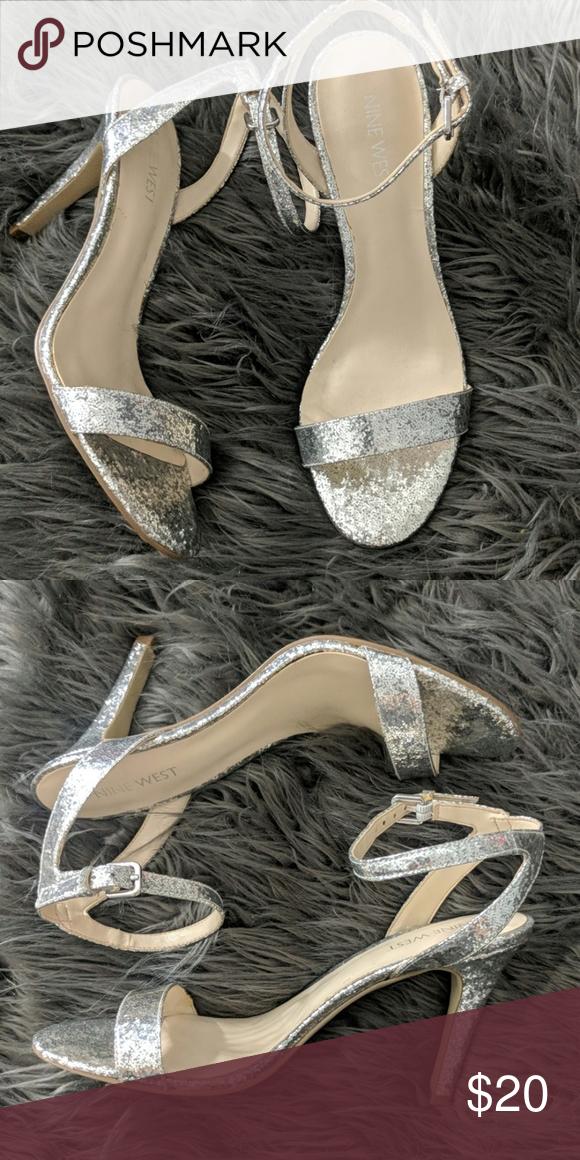Heels Nine West 7 5 Silver Glitter Nine West Shoes Heels Heels Nine West Shoes Sandals Heels