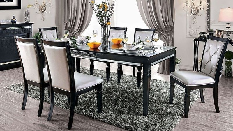Alena Formal Dining Room Set In Black Formal Dining Room Sets Dining Table Setting Wood Dining Table
