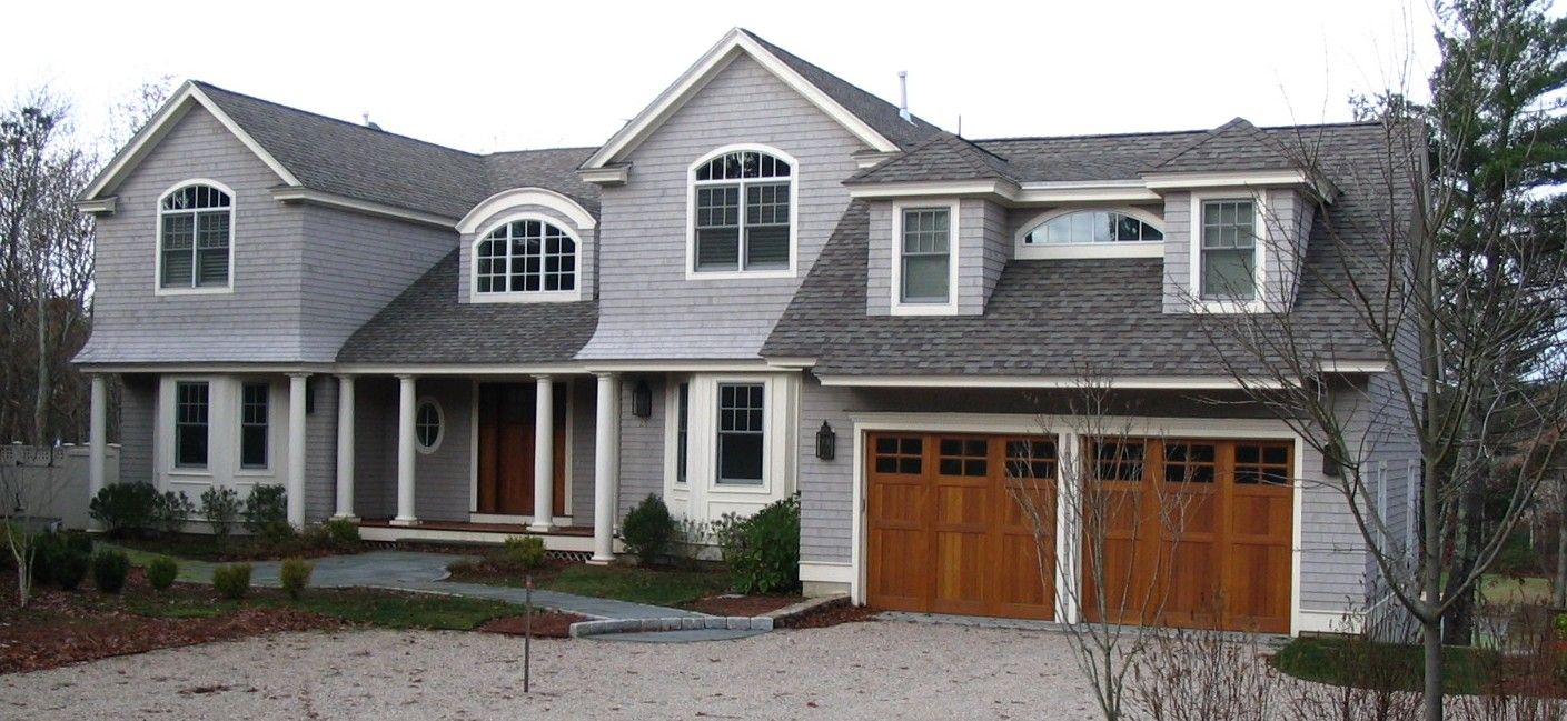 Gray And White House Leader In Cedar Shingles Cedar Shingles And Cedar Products Exterior House Colors House Exterior Garage Door Styles