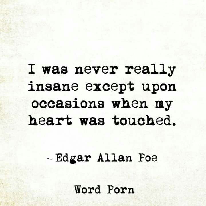 i was never really insane except on occasions when my heart was i was never really insane except on occasions when my heart was touched acircmiddot edgar allen poeedgar