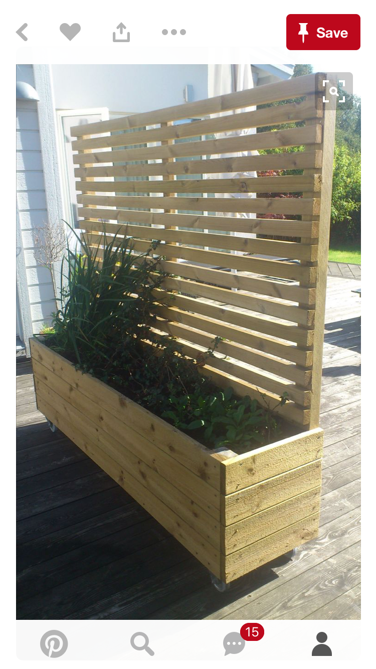 Planter box with screen Patio garden, Garden privacy