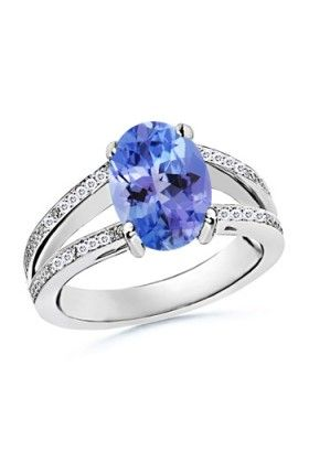 Angara Oval Sapphire and Round Diamond Split Shank Ring White Gold z0OW0