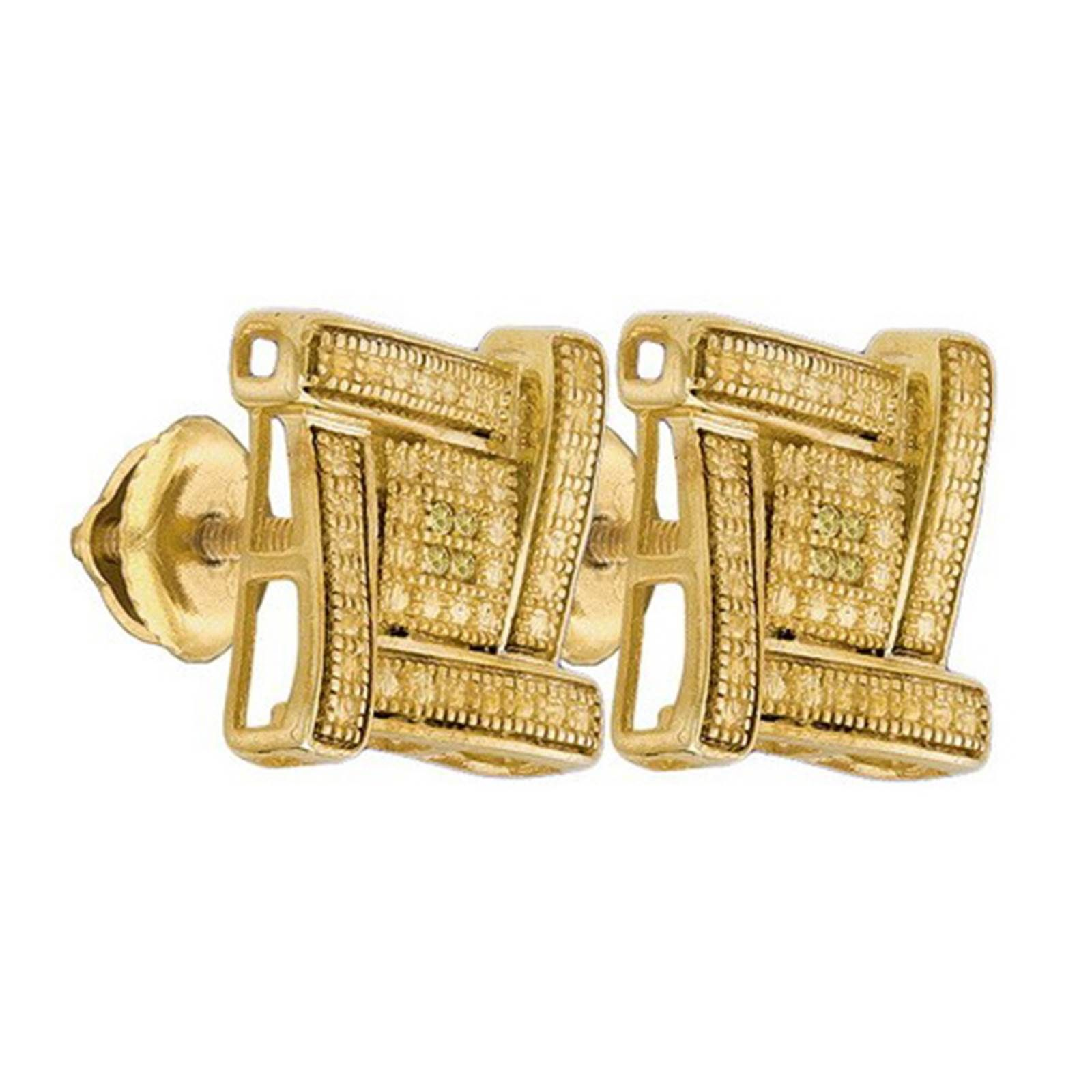 La s & Mens Yellow Gold Finish Pave Diamond Stud Post Earrings